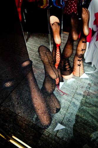 Shop window with single legs Model model Fashion Clothing strump Tights Nylon Eroticism Sex Sexuality eroticism eros Exhibition sale lingerie Underwear