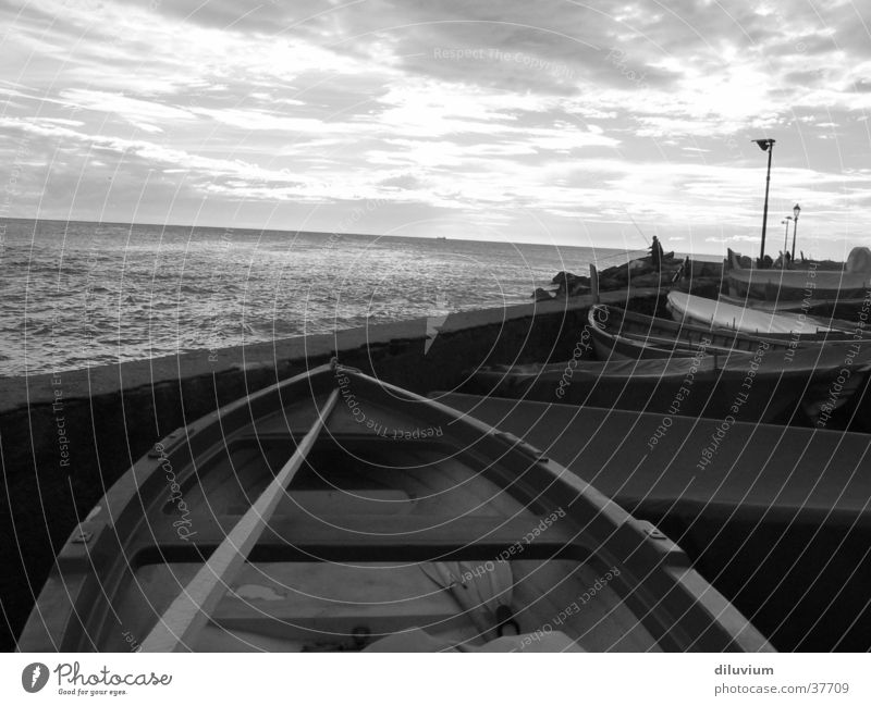 Restricted project Watercraft Wall (barrier) Ocean Longing Black & white photo Digital photography