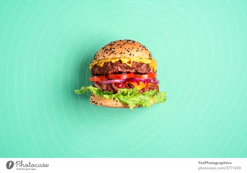 Hamburger on a green background, top view. Burger side view. above view barbeque bbq beef big bread bun cheddar cheese cheeseburger comfort food copy space