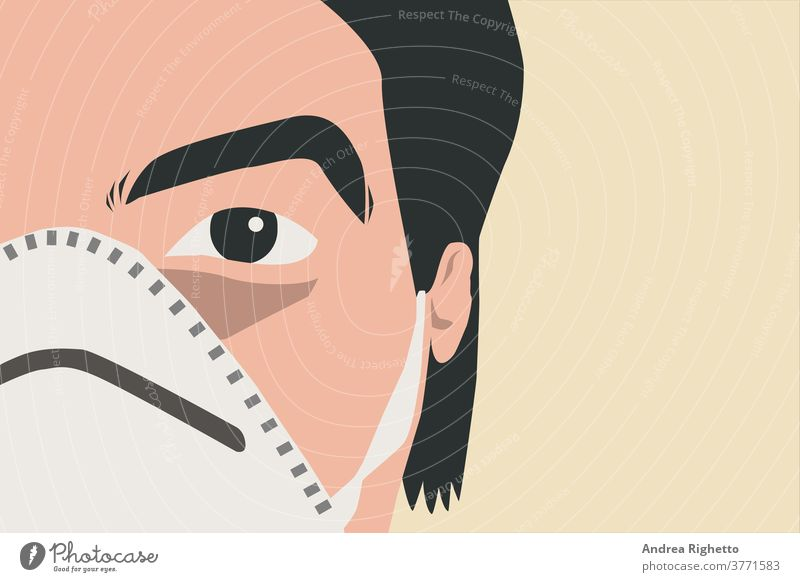 Half portrait of a young caucasian adult doctor wearing a white mask. Copy space on the right. Man looking at the camera. Concept of virus prevention, new pandemic risk. Vector illustration. Isolated