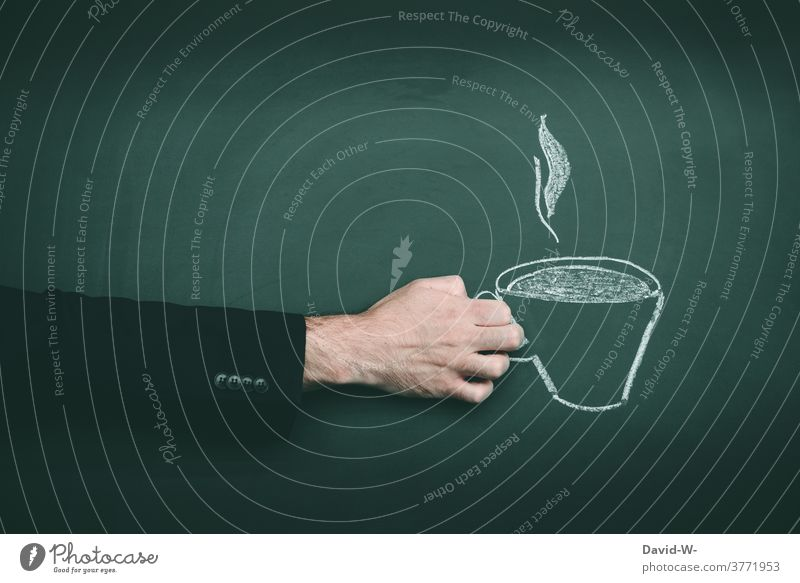 Hand holding a cup of steaming coffee To have a coffee Coffee Break Coffee break Sign Drawing Coffee mug Tea To enjoy Offer Café