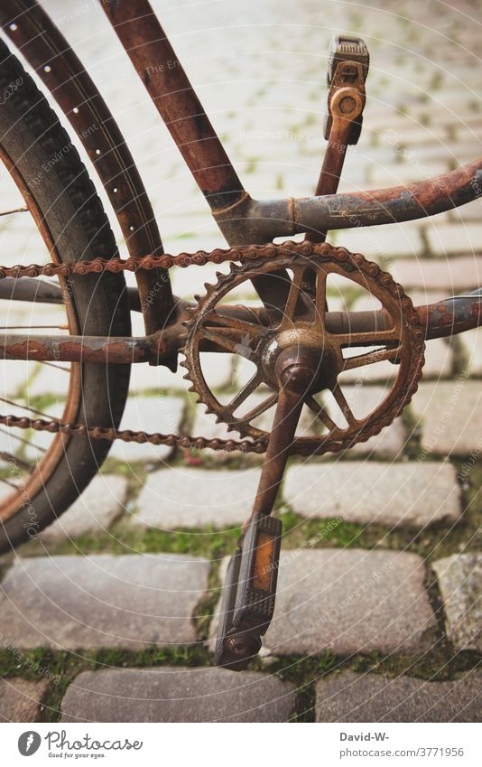 rusty bicycle roasted Bicycle Old Rust Bicycle chain Means of transport Cycling broken