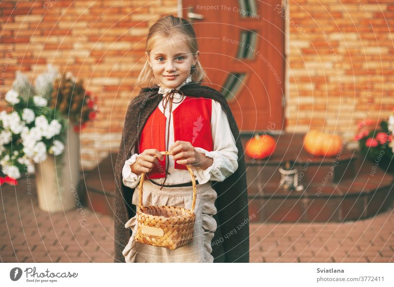 A little girl in a fairy costume with a basket in her hands during the celebration of Halloween goes to visit for treats at home pumpkin celebrate fabulous