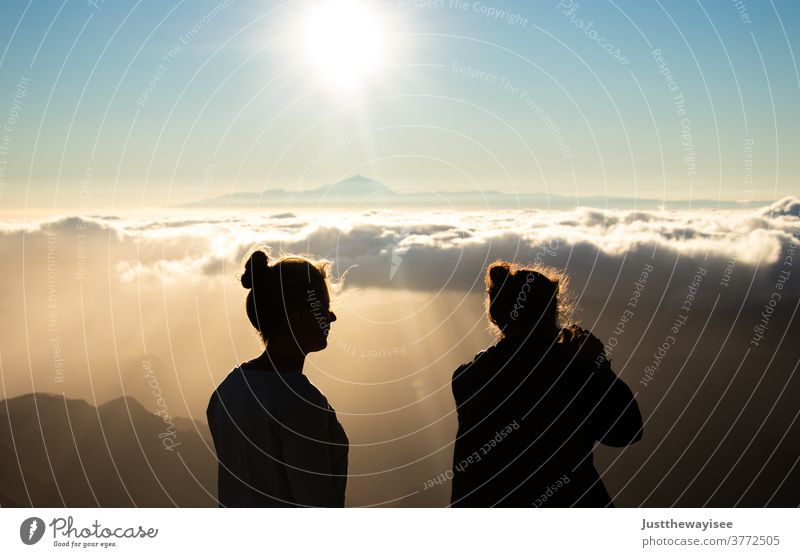 Silhoutte with a beautiful sunset at Teide Sky Gran Canaria Sun people person Landscape Summer españa Canaries Spain cloud Mountain tree Clouds Nature