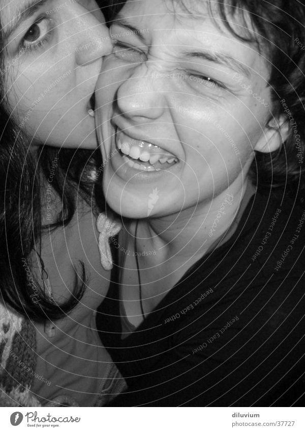 friends Woman Human being Face Laughter Bite Black & white photo Teeth