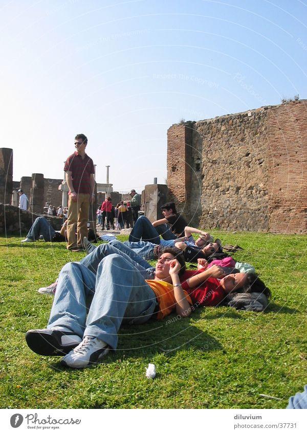 Human being Sky Meadow Group Friendship Legs Lie Digital photography