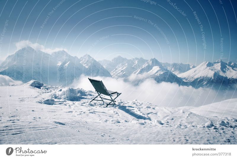 Unobstructed view of the Alps Environment Landscape Sky Horizon Winter Climate Weather Fog Ice Frost Snow Rock Mountain Peak Snowcapped peak Folding chair