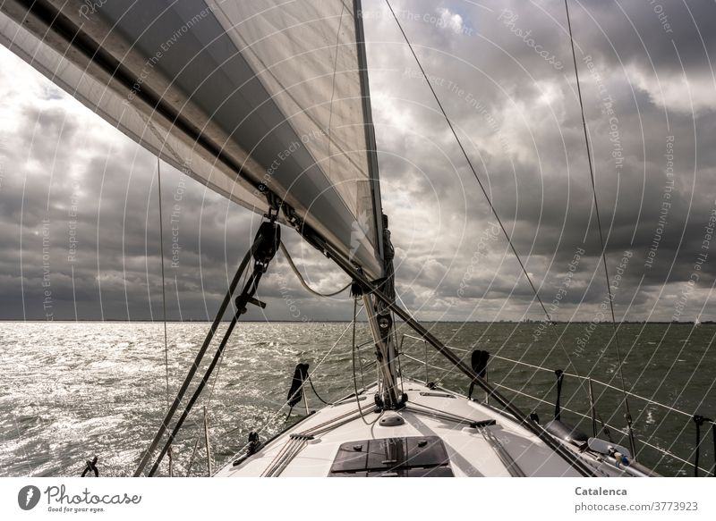 Clouds are gathering and we are sailing Vacation & Travel Sailboat Horizon sailing yacht Ocean Water Sailing lake nordesee Wet mainsail Bad weather Gray White