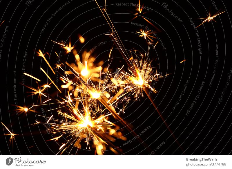 Close up several firework sparklers over black Sparkler group dark background close low angle view side copy space holiday celebration Christmas xmas new year