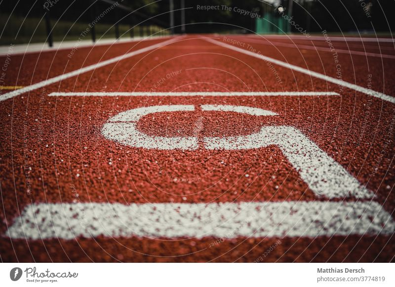 Close-up view of the raceway Sports Track and field athlete Track and Field Running sports Running track Walking Jogging Target Finish line