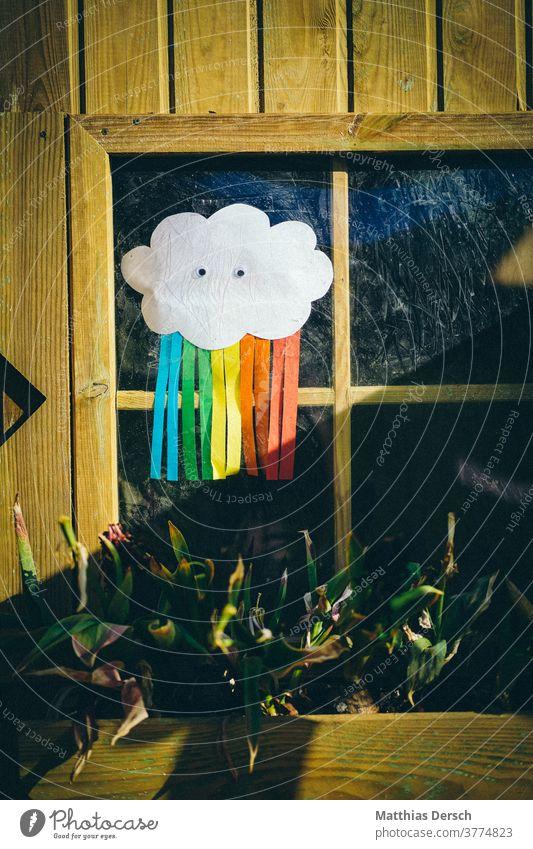 Corona rainbow gives hope corona coronavirus corona crisis Child Kindergarten Children School unschooled Rainbow Self-made Decoration Hope variegated decoration