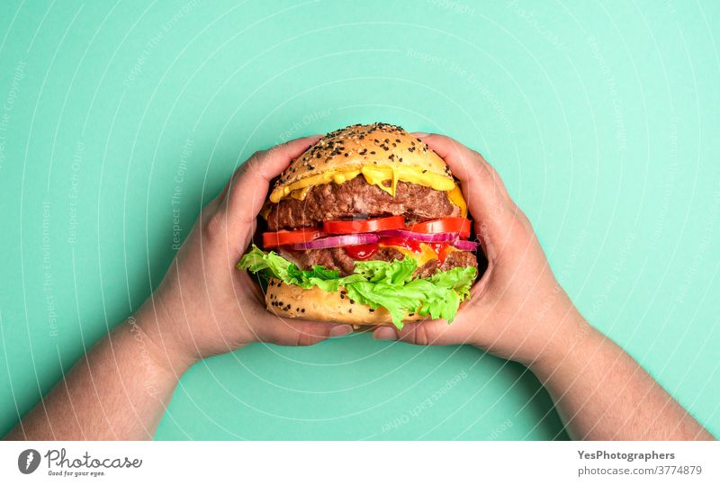 Burger held with both hands. Hamburger on a green background. above view barbeque bbq beef big bread bun cheddar cheese cheeseburger comfort food copy space