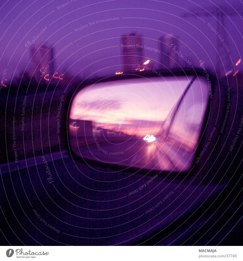 Dark Violet Skyline Rear view mirror Night journey