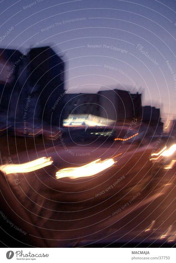 traffic_5 Night journey Oncoming traffic Twilight Transport Floodlight Light Lighting Movement Blur