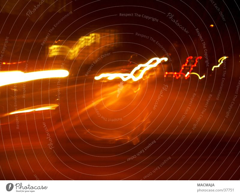 traffic_1 Light Night Stripe Transport Rear light Twilight Yellow Red Photographic technology Lighting Car Movement Floodlight Blur