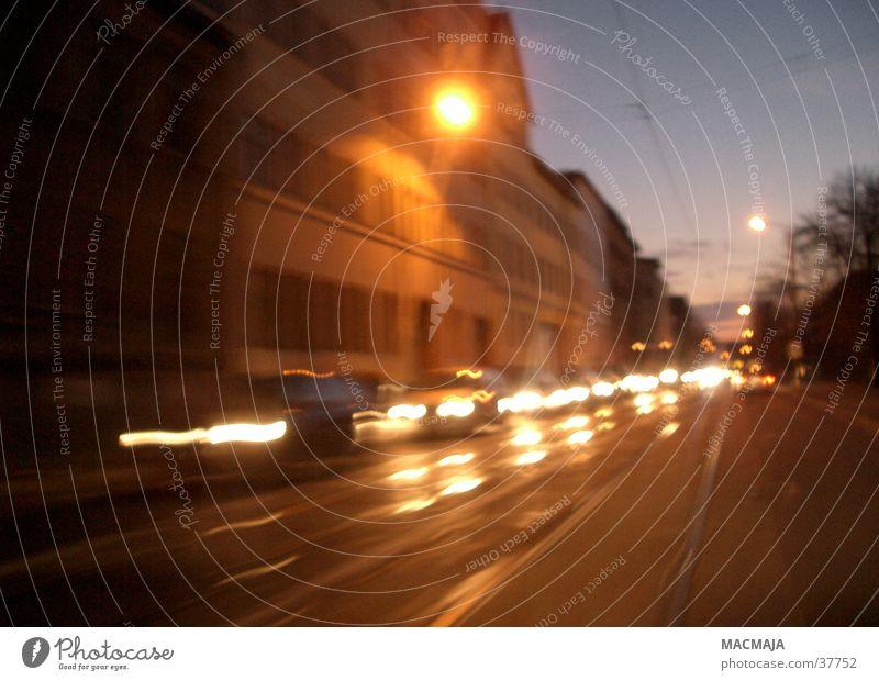 Dark Movement Car Transport Floodlight Traffic jam Oncoming traffic