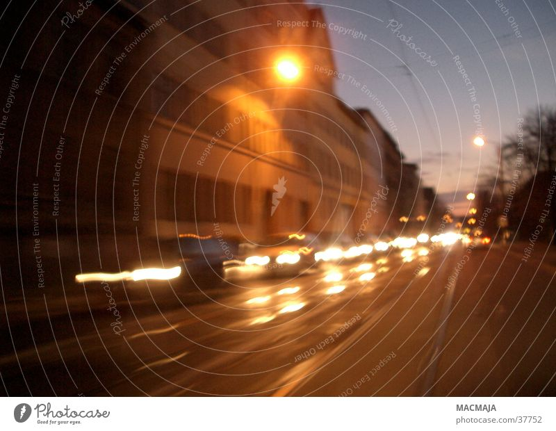 Dark Movement Car Transport Floodlight Traffic jam Oncoming traffic