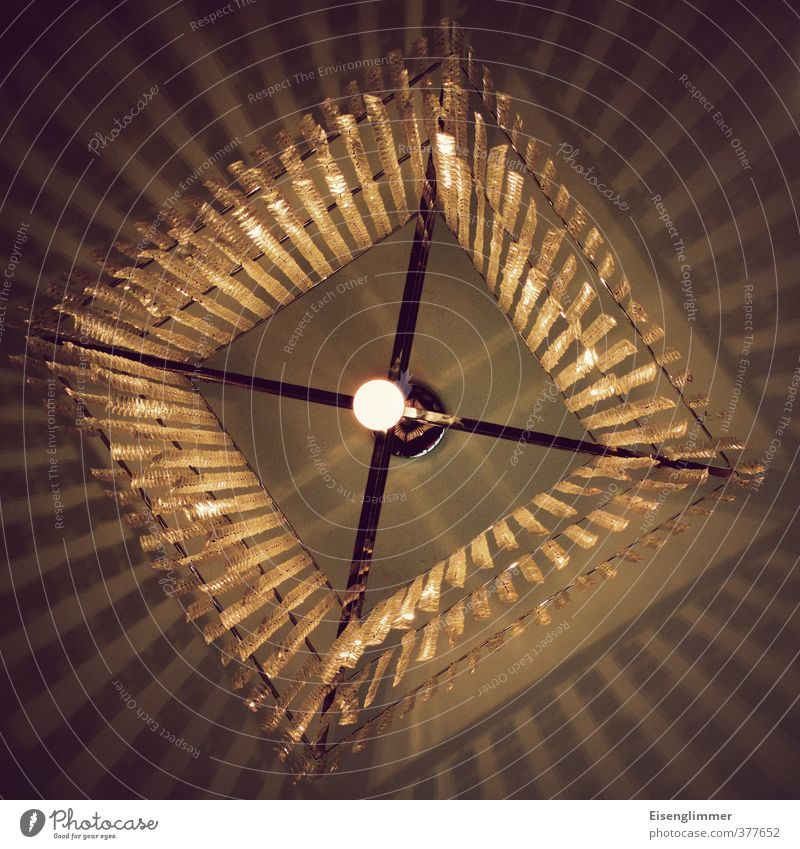 Light in square Lamp Lamplight Electric bulb Energy Energy-saving bulb Shadow Metal Sharp-edged Bright Gold Fringe Square Crucifix Colour photo Interior shot