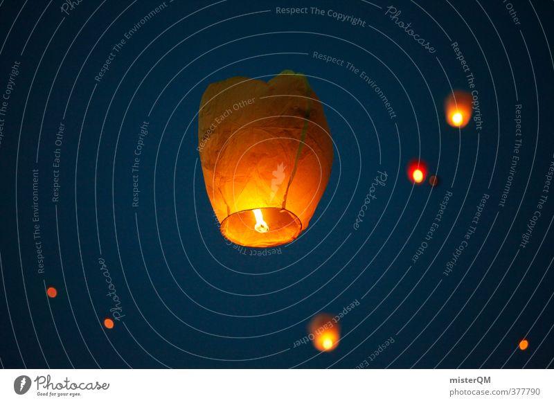 Falling Stars III Art Esthetic Contentment Romance Lampion Hot Air Balloon Dusk Sky Freedom Heaven Historic Skyward Compass point Himmelsstürmer Hope Event