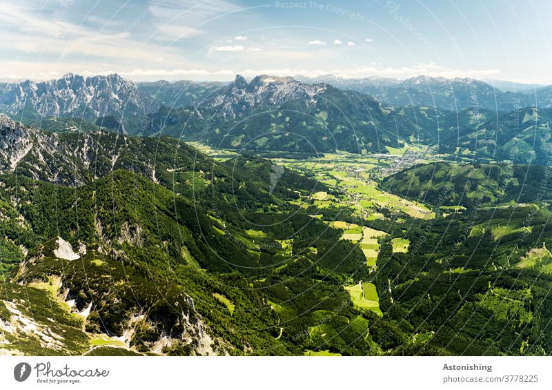 View from the mountain to the valley Valley Landscape Alps Austria green Nature Admont Mountain Exterior shot Sky Panorama (View) Hiking Vantage point Peak