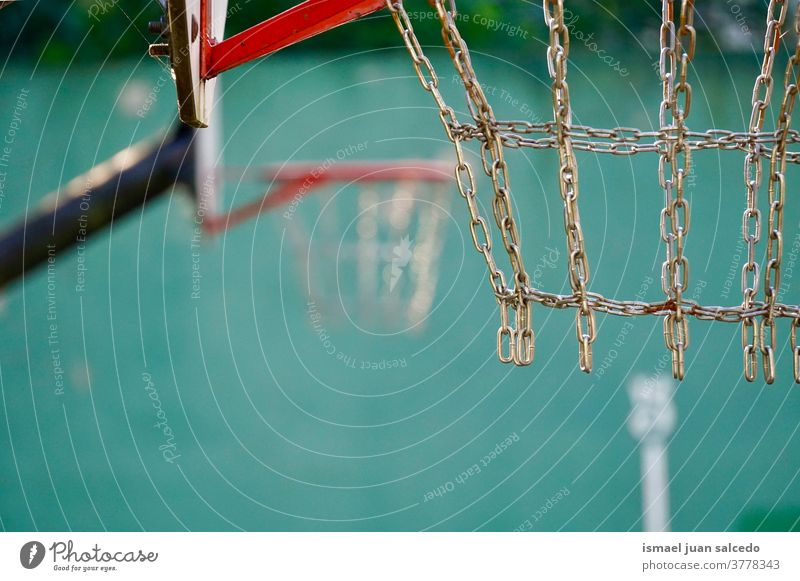 basketball hoop, street basket in Bilbao city Spain sport play playing equipment game competition abandoned old court field park playground outdoors broken