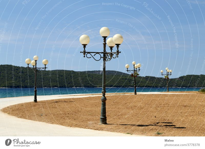 Street lights in the form of balloons for lighting at night street art background shape blue fantastic lantern stylish evening architecture city decoration