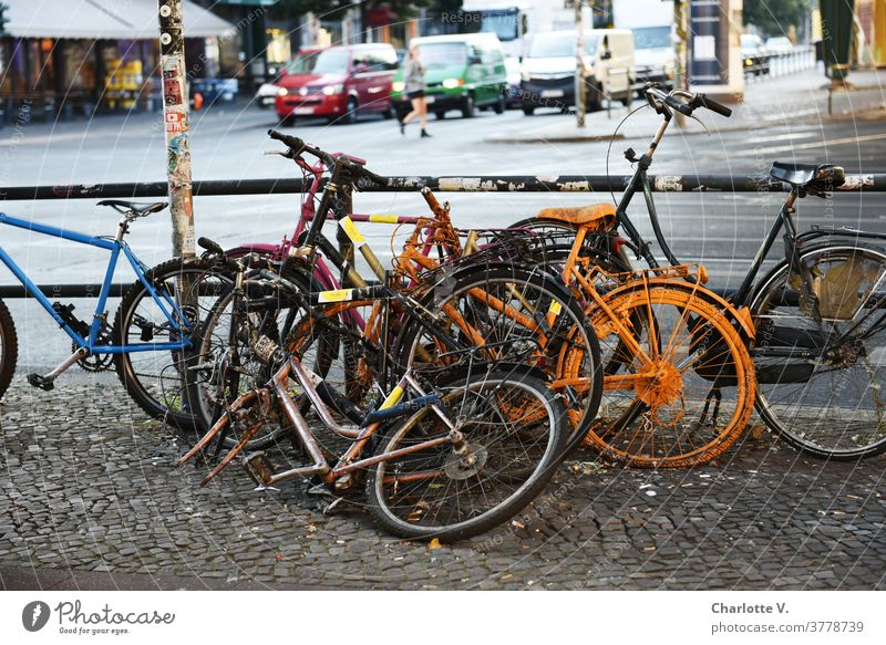 bicycle pile bicycles Bicycle Exterior shot Street Transport City Parking Means of transport Town Mobility Day Road traffic Traffic infrastructure Colour photo