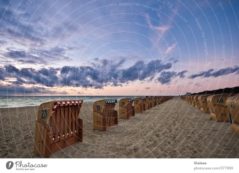 Sky Vacation & Travel Summer Sun Ocean Relaxation Clouds Beach Coast Sand Waves Romance Baltic Sea Wanderlust Beach chair
