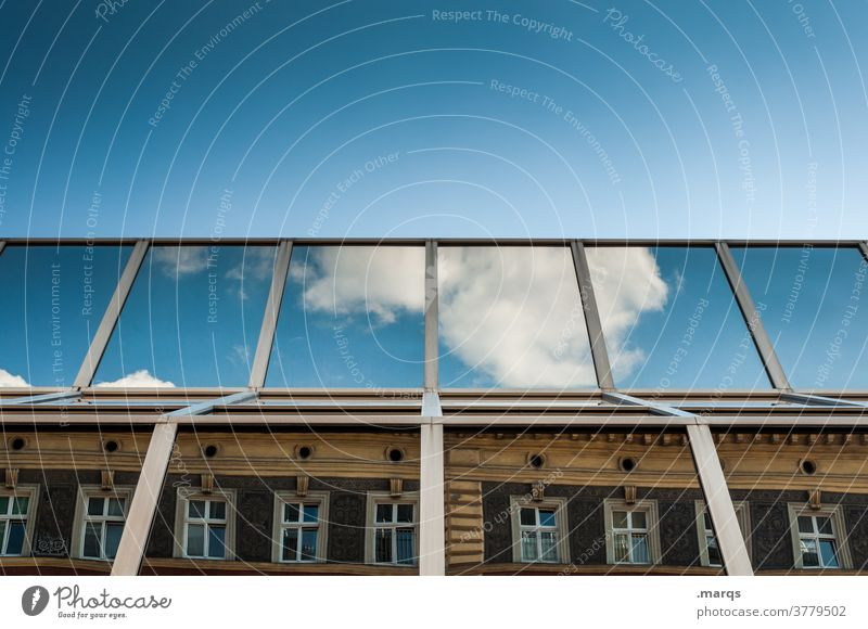 Everything under one roof House (Residential Structure) Glas facade New building Old building Window antagonism Sky Beautiful weather Clouds Cloudless sky