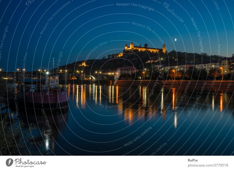 evening in Würzburg am Main. Footbridge pier jetty Mole Lake Body of water Water Sky Clouds Weather Evening Light Habitat Moody silent tranquillity Valley