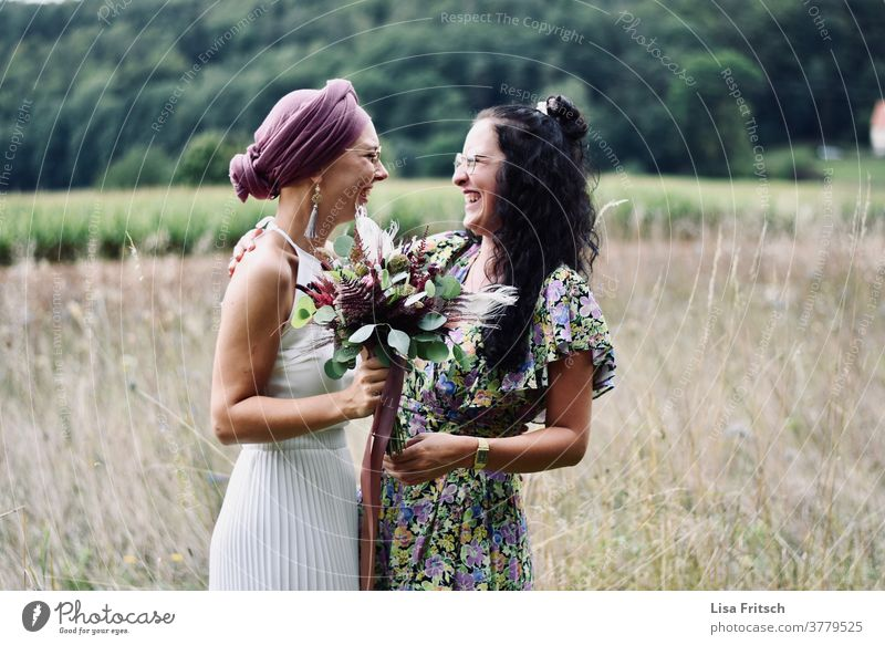 "FRIENDSHIP - WEDDING - MAID OF HONOR Wedding Best man girlfriend Friendship happy,"" Laughter Joy luck Together Happiness Colour photo Adults fortunate fun"