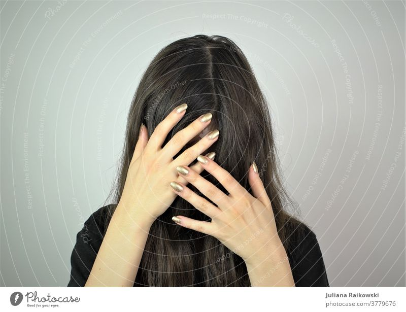 pilferer Self portrait Woman Head Hair and hairstyles Emotions hands already Black Mysterious Hide Sadness Feminine Identity Feeble Human being touching Shame