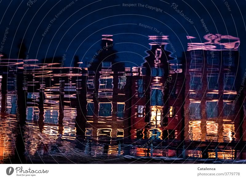 Illusion | Reflections reflection House front Water Town Amsterdam houses Architecture Evening Light Window Facade Reflection and mirroring Building