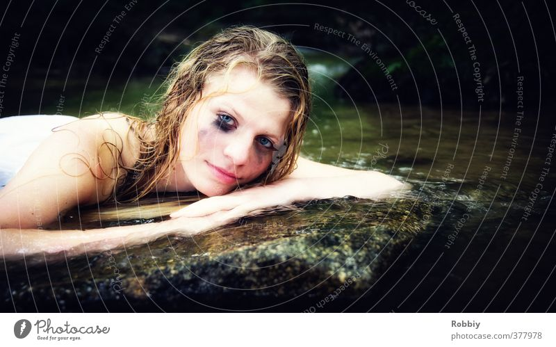 Human being Child Nature Youth (Young adults) Water Calm Young woman Feminine Stone Lake Head Natural Rock Dream Lie Blonde