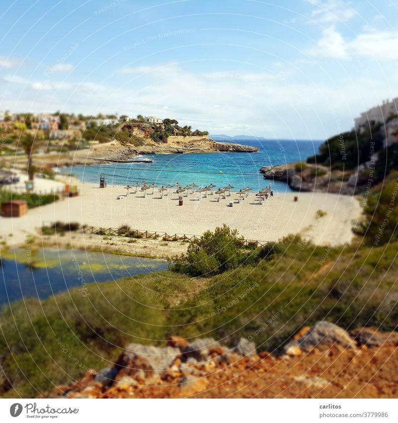 Mallorca | small beach .... empty ! Spain Balearic Islands Majorca coast Bay Beach Empty corona Travel warning infection figures Quarantine Vacation & Travel