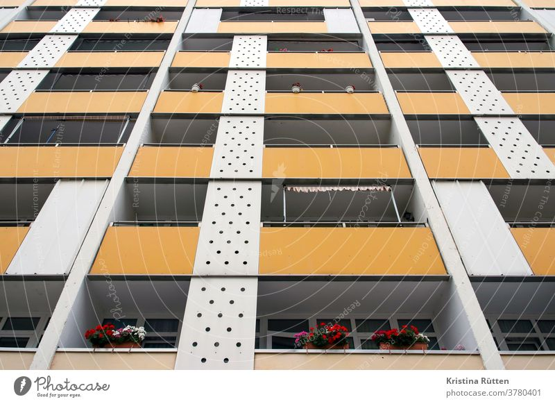 seventies apartment building House (Residential Structure) Facade Balconies built Apartment Building Apartment house High-rise block of flats Apartments awnings
