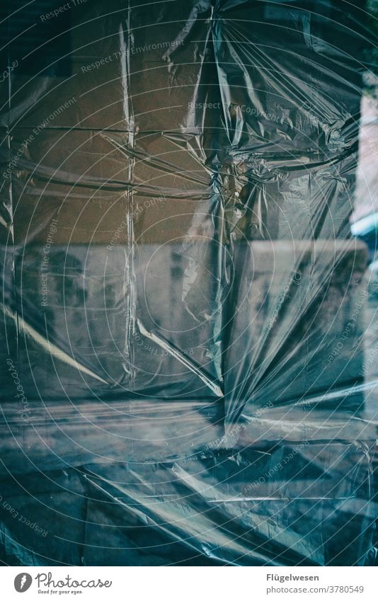 delivered Invisible Window Shop window Store premises Packing film cartons Neutral Background background Slice