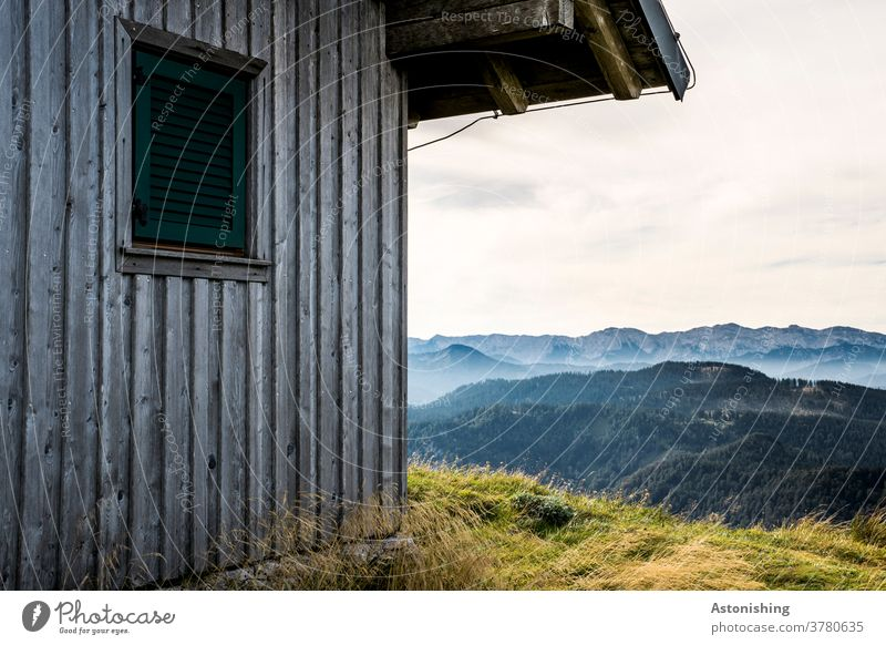 Hut in the mountains Alpine hut Oetscher Alps Austria Hiking Peak Land Feature Close-up Meadow Tall Mountain Exterior shot Colour photo Nature Landscape