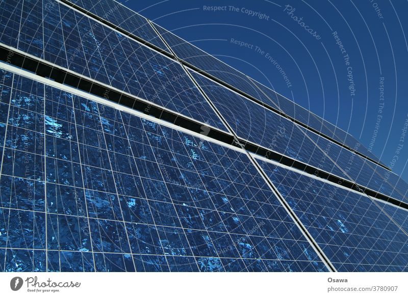 Solar collector against clear blue sky Solar Power Solar cell Energy Energy industry Force power station power supply Renewable energy Technology Exterior shot