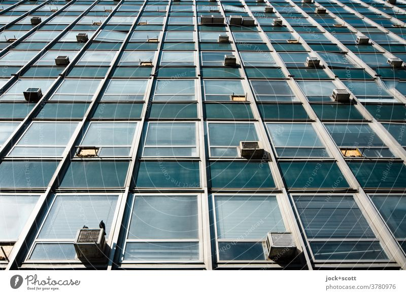 No view behind the facade Architecture Facade Retro Socialism Administration building Structures and shapes Worm's-eye view Style Air conditioning Symmetry