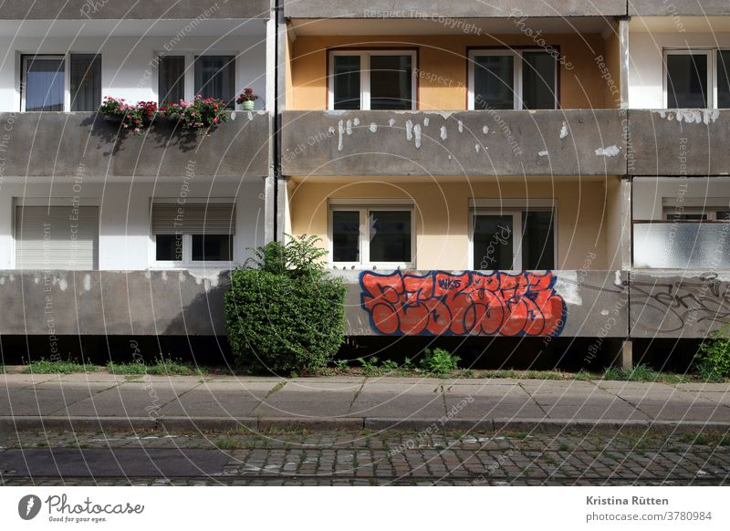 graffiti on balcony House (Residential Structure) Balconies Graffiti Day Apartment Building apartment building Apartment house Facade Old building continuance