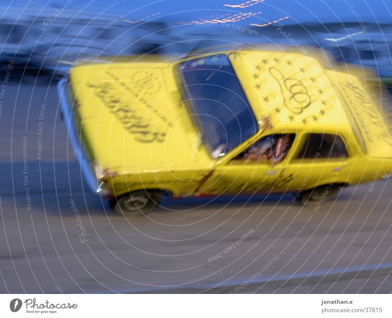 Yellow Car Transport Speed Shows Stunt