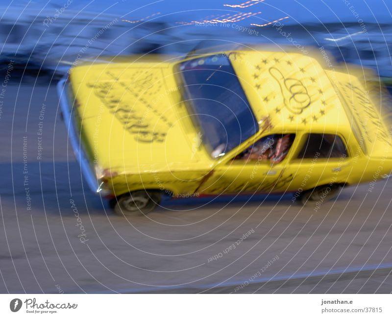 Yellow Car Transport Speed Shows Stunt