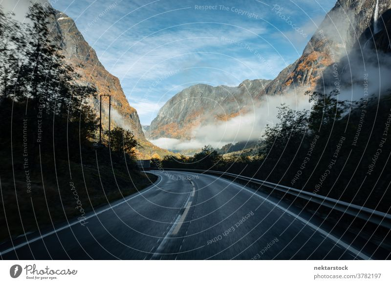 Mountain Highway in Autumn with Vanishing Point Road highway mist cloud landscape Norway north autumn mountain mountainous vanishing point point of view pov