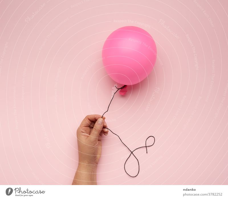 female hand holding an inflated pink air balloon on a pink background arm ballon blank closeup filled float helium inflatable one people ribbon rubber shiny