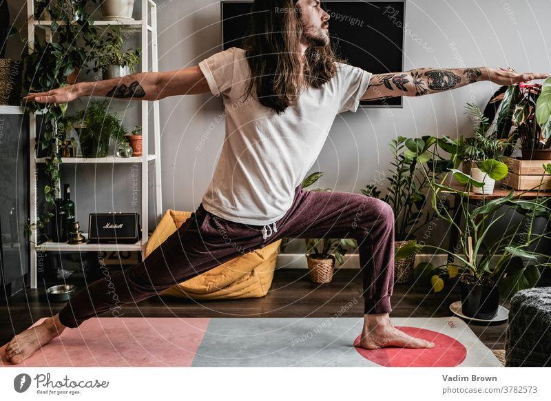 yoga man Yoga healthy lifestyle Meditative meditating Balance Athletic Practice Relaxation Lifestyle Sports Fitness Sports Training yoga mat Masculine Man