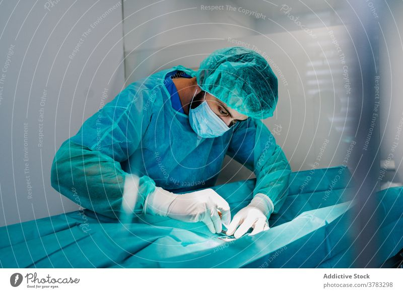 Veterinarian doing surgery in modern clinic animal veterinary doctor operating theater anesthesia machine monitor assistant medical table professional job work