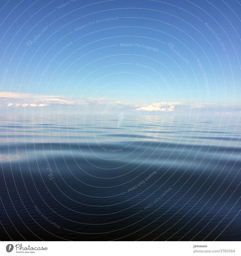 Horizon over smooth sea Blue Blue sky Ocean Water Waves smooth water surface North Sea ocean Clouds Looking wide view Sky Surface of water Vacation & Travel