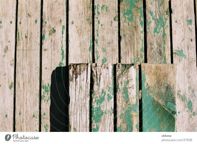 perpendicular Wood Plank Hallway Green Wood flour Craft (trade) Derelict deal shipyard weather beaten floorboard