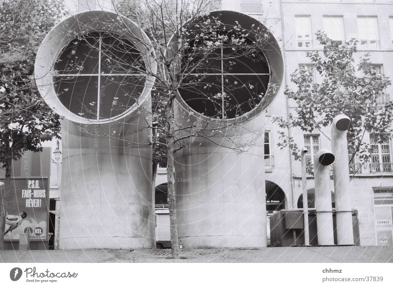 duet Paris Duet Pompidou center Ventilation Air conditioning Tree Architecture Town aeration ventilatory Black & white photo